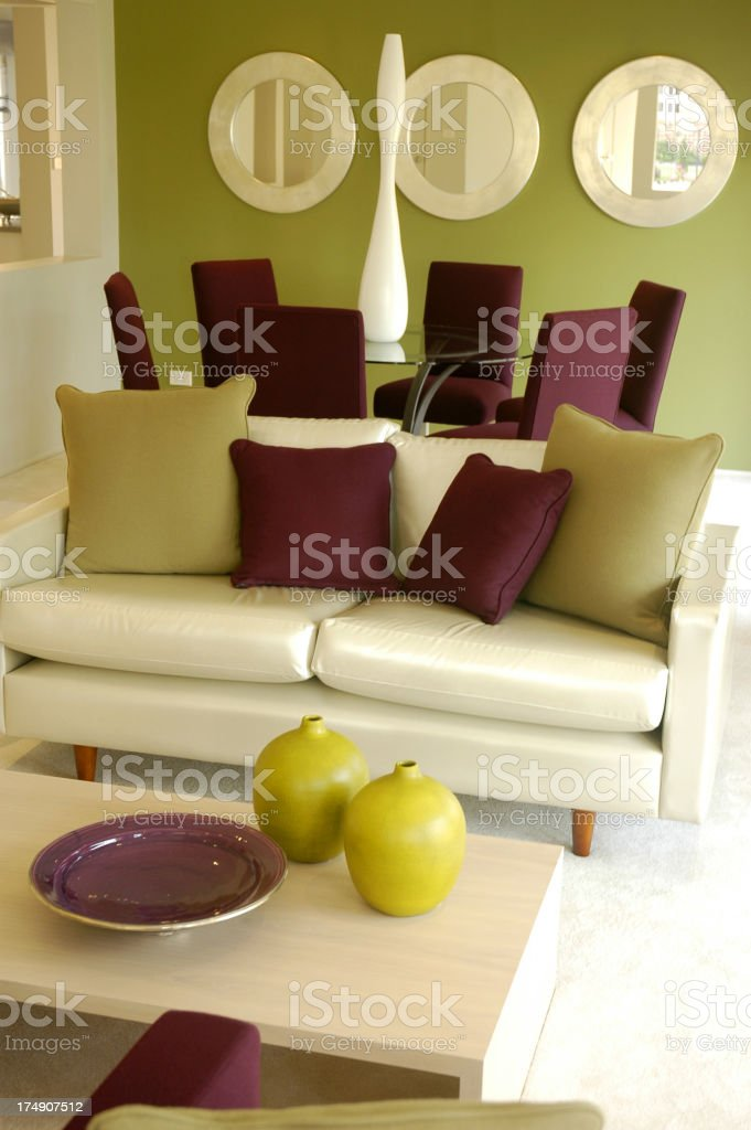 Jetson lounge in dark red, green and white color contrasts royalty-free stock photo