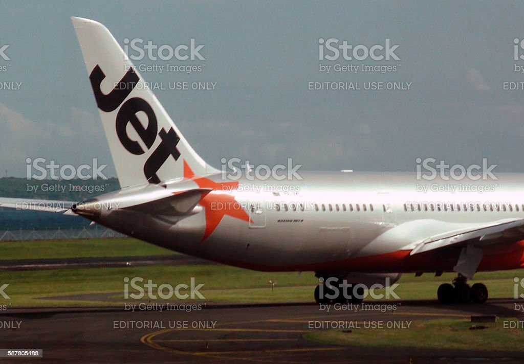 Jetstar Airways Taxiing To Take Off From Airport In Bali.Indonesia stock photo