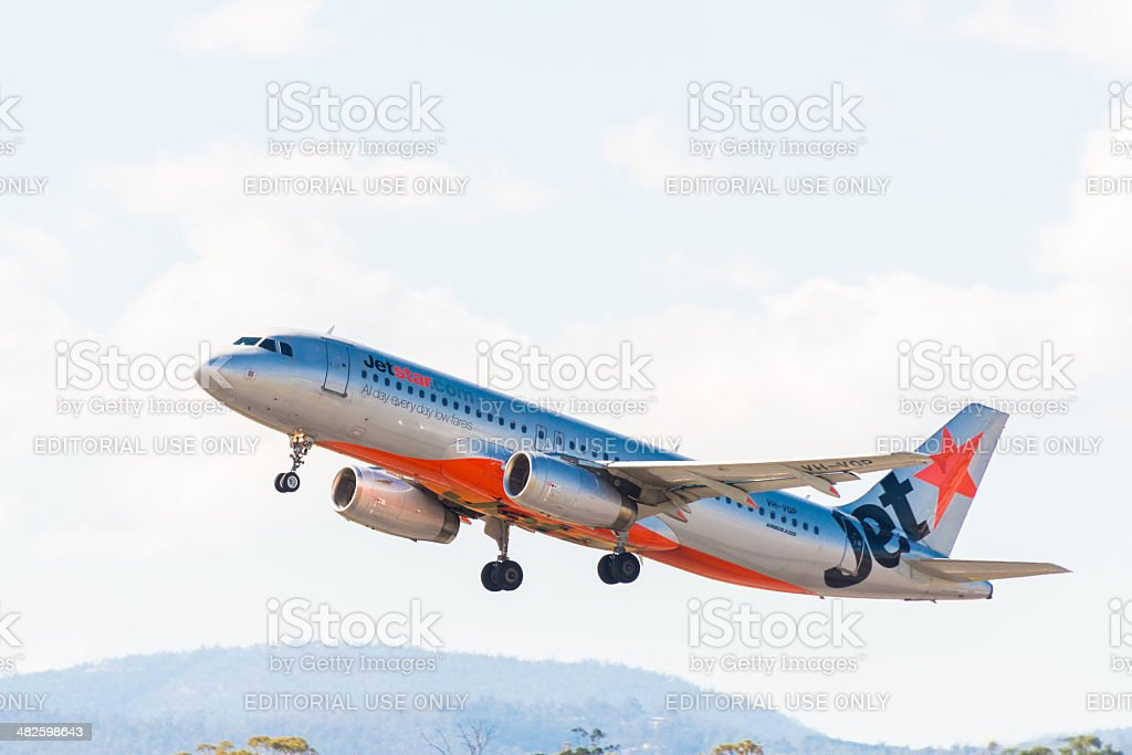 Jetstar Austrália passageiro avião decolando foto royalty-free