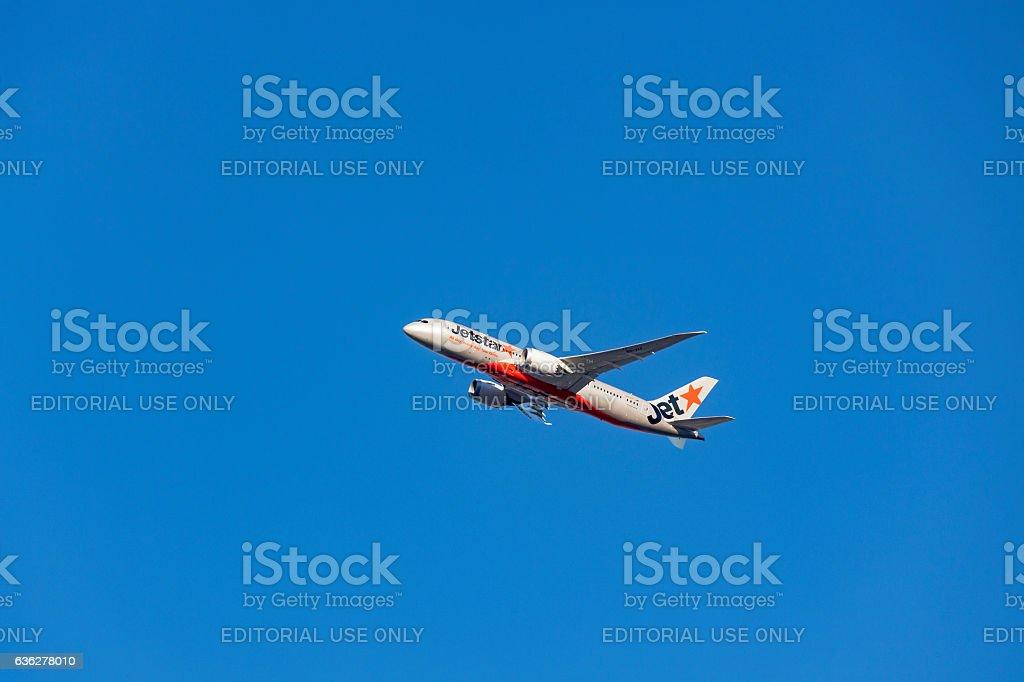 Jetstar Boeing 787-800 Dreamliner VH-VKF in blue sky stock photo