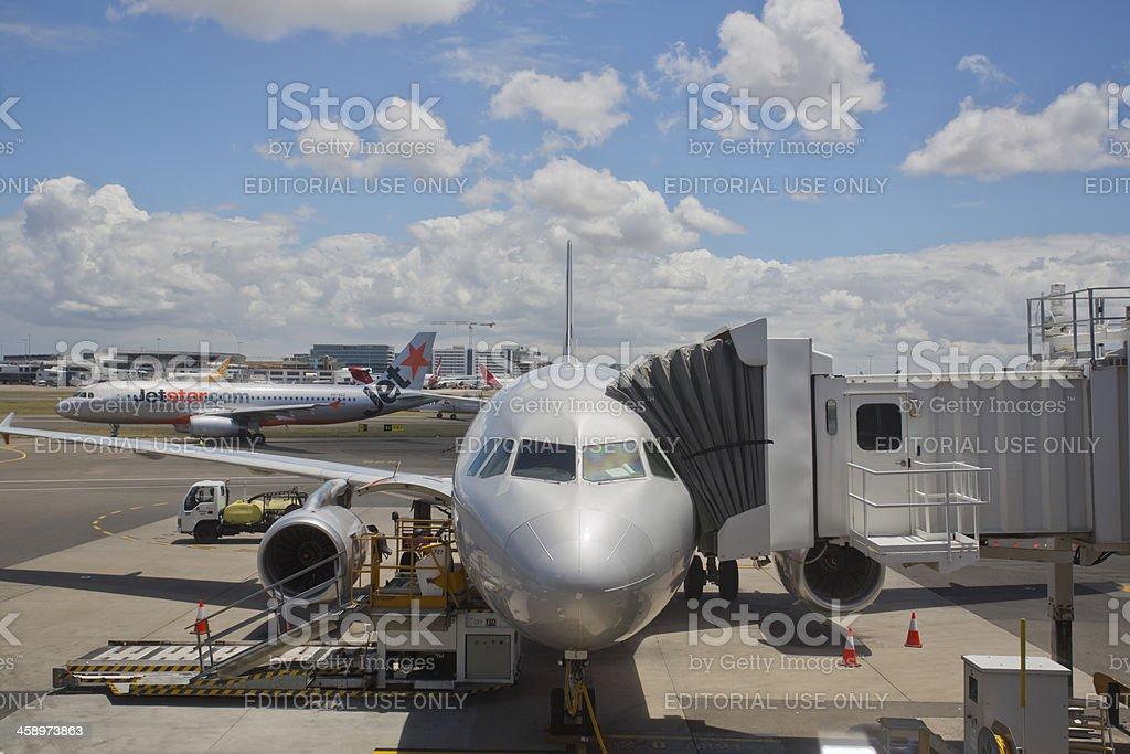 JetStar Jet Aeroplanes at Sydney Airport stock photo