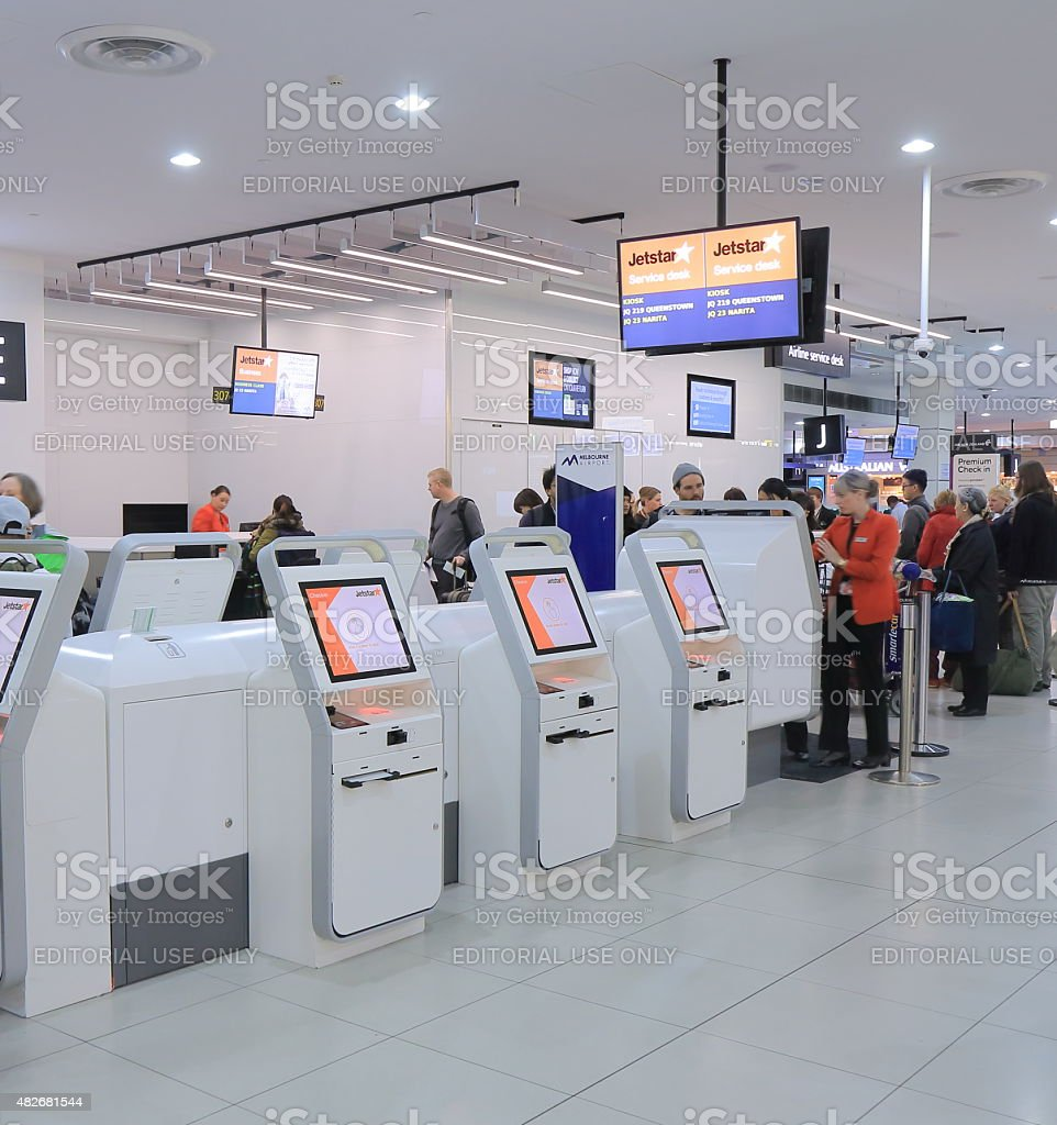 Jetstar self check in Melbourne airport stock photo