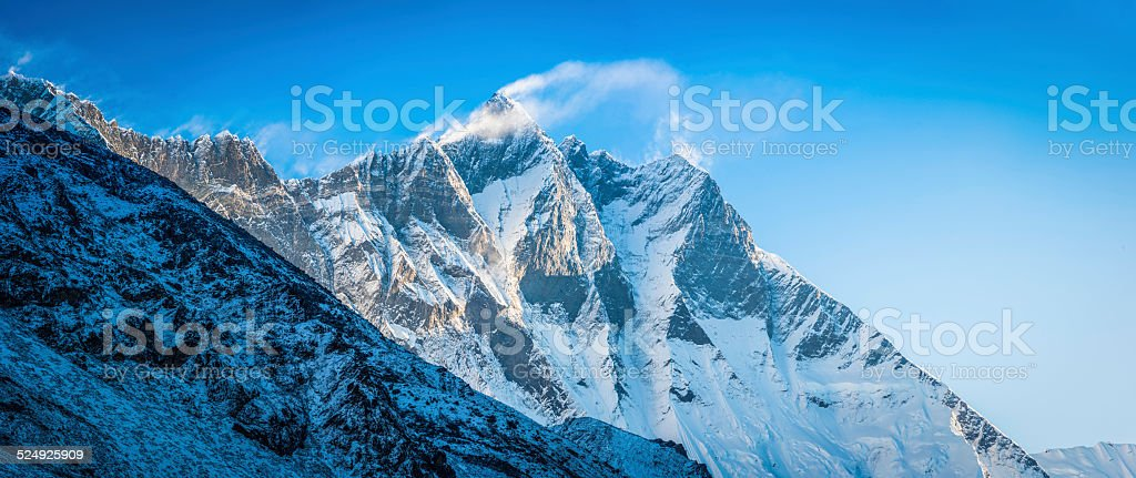 Jetstream clouds whistling over Lhotse mountain summit (8516m) Himalayas Nepal stock photo