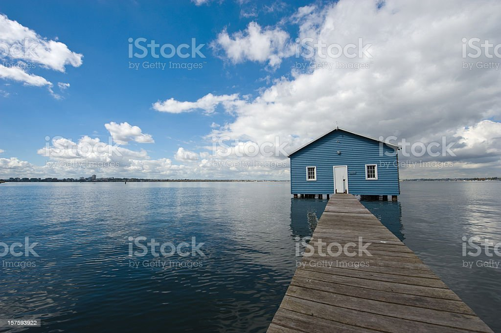 jetty and boat house swan river perth royalty-free stock photo