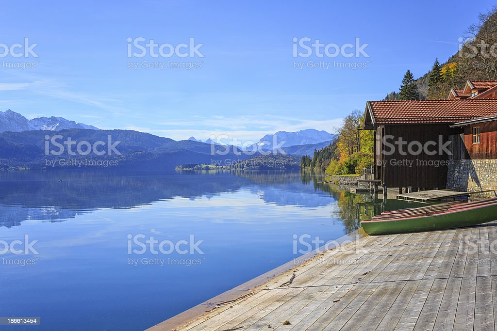 Jetty and boathouse at Lake Walchen (Walchensee) royalty-free stock photo