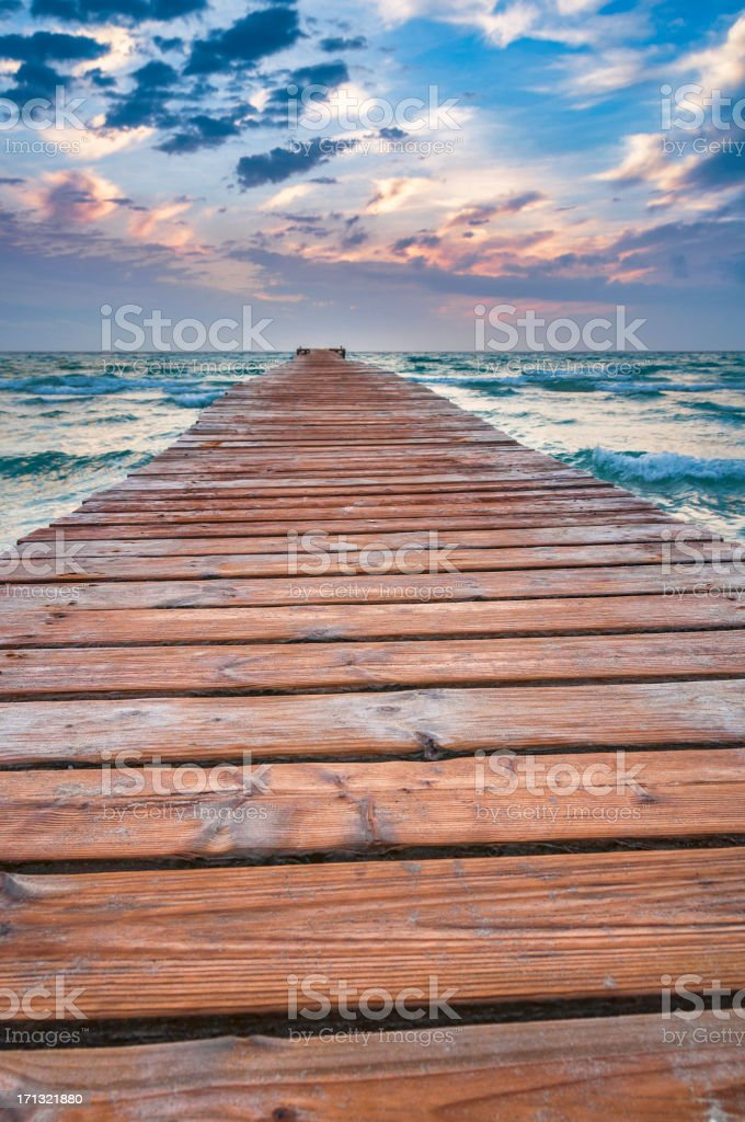 Jetty and horizon royalty-free stock photo