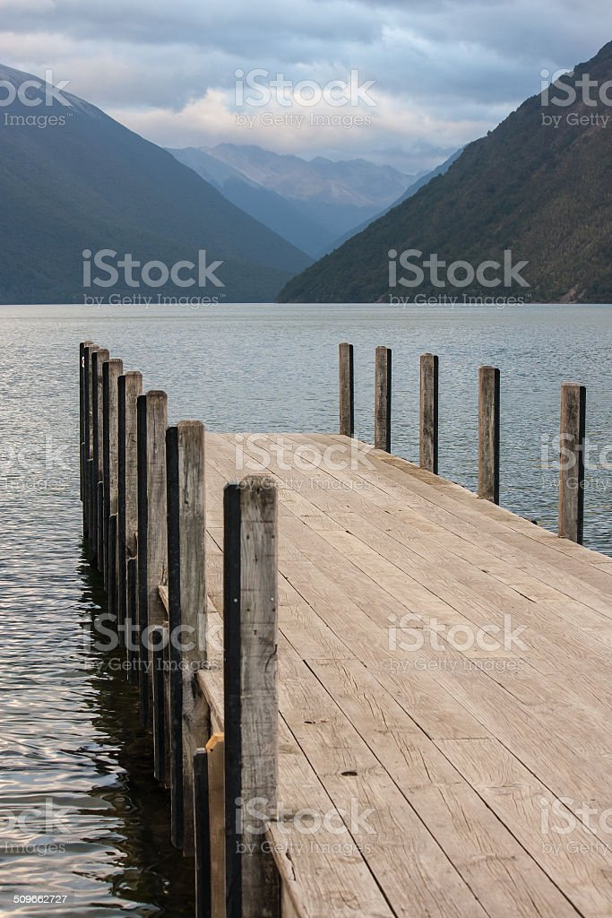 jetty at lake Rotoiti, Nelson Lakes National Park stock photo