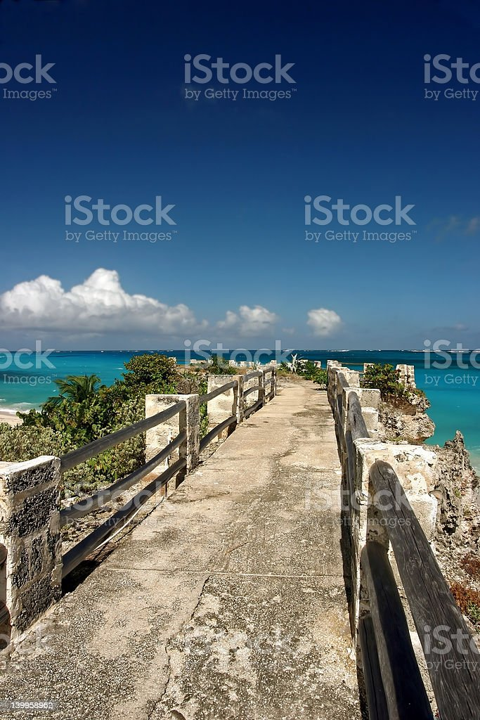 jetty at sam lords beach, Barbados stock photo