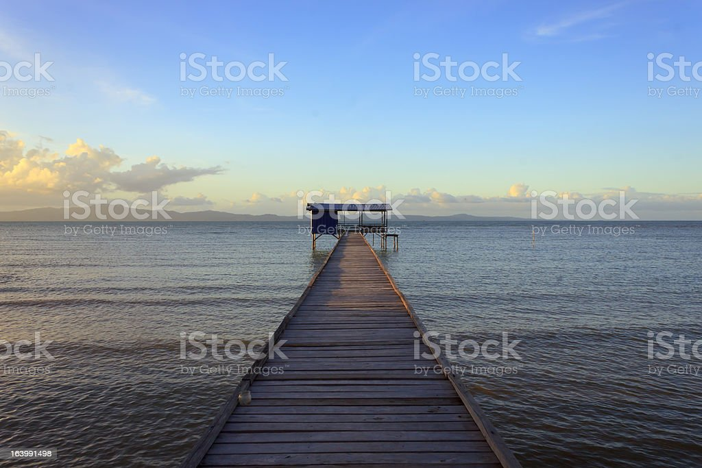 jetty at sea in Borneo, Sabah, Malaysia royalty-free stock photo