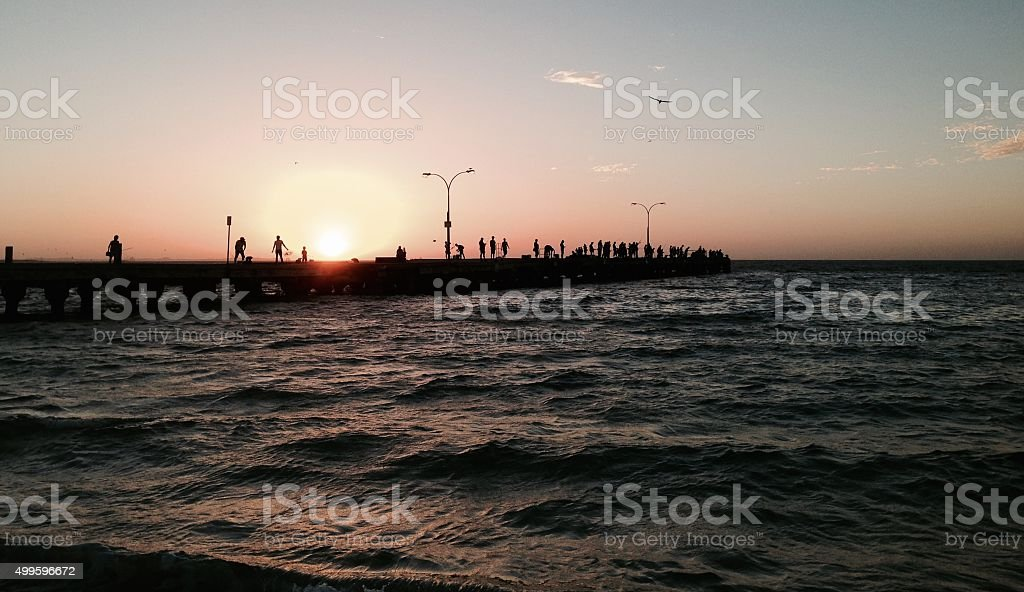 Jetty at Sunset: Coogee Beach, Western Australia stock photo