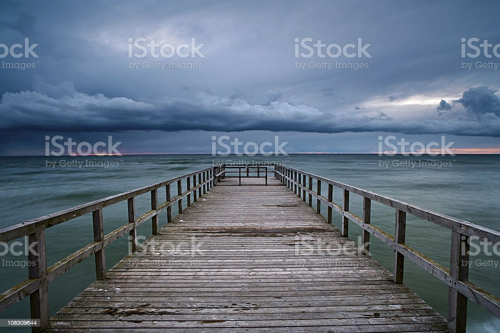 Jetty at sunset royalty-free stock photo