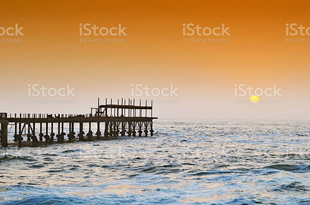 Jetty at sunset, Swakopmund,Namibia stock photo
