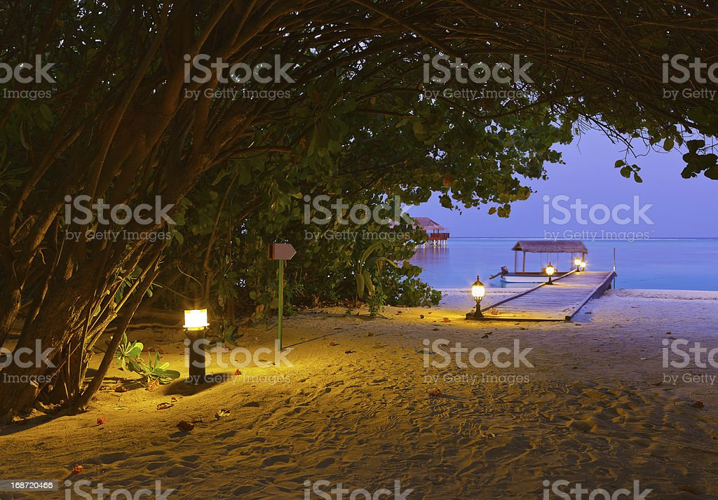 Jetty beach at sunset - Maldives royalty-free stock photo
