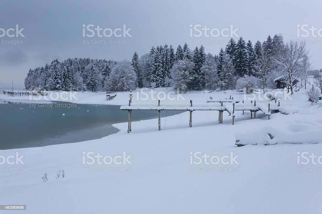 Jetty in Snowscape royalty-free stock photo