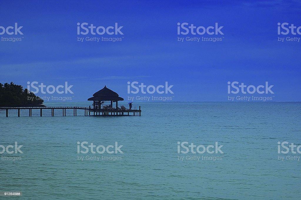 Jetty na tropical lagoon foto royalty-free