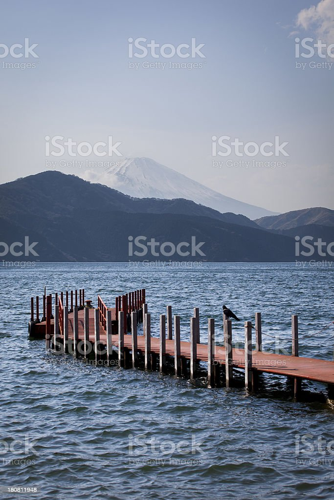 jetty lake ashinoko stock photo