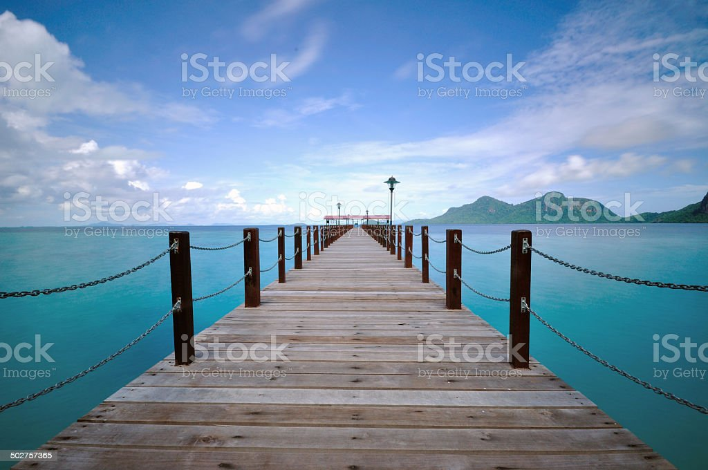 Jetty of a tropical island Sabah Borneo stock photo