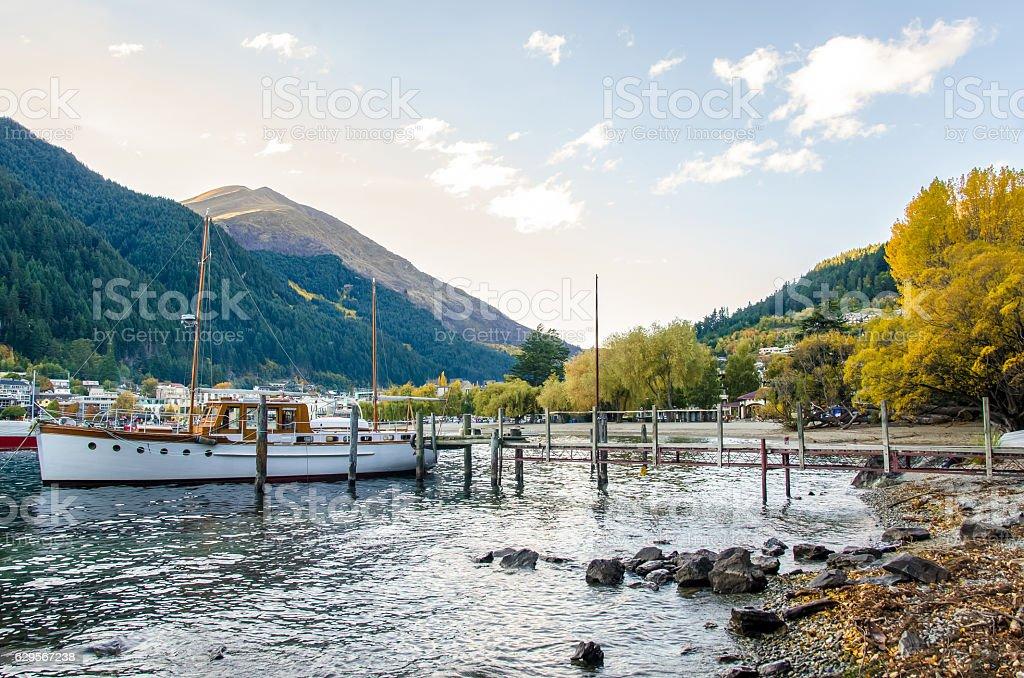 Jetty of Lake Wakatipu in Queenstown, New Zealand. stock photo