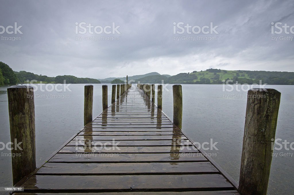 Jetty on Coniston Water stock photo