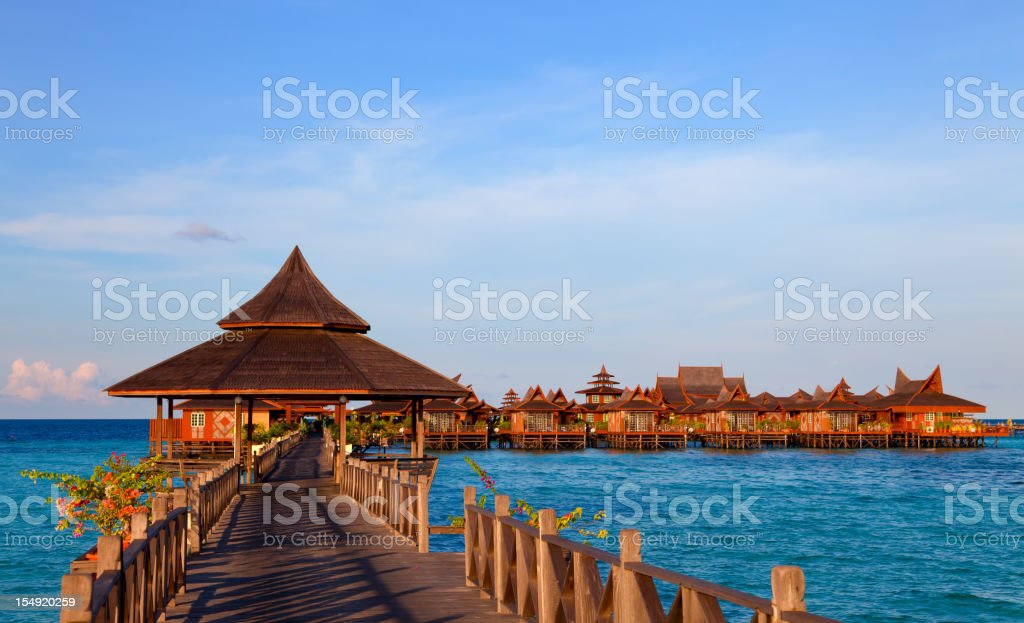 Jetty on Mabul island, Sipadan, Borneo Malaysia stock photo