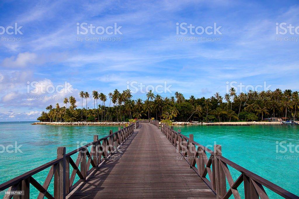 Jetty on Mabul island, Sipadan, Borneo Malaysia stock photo