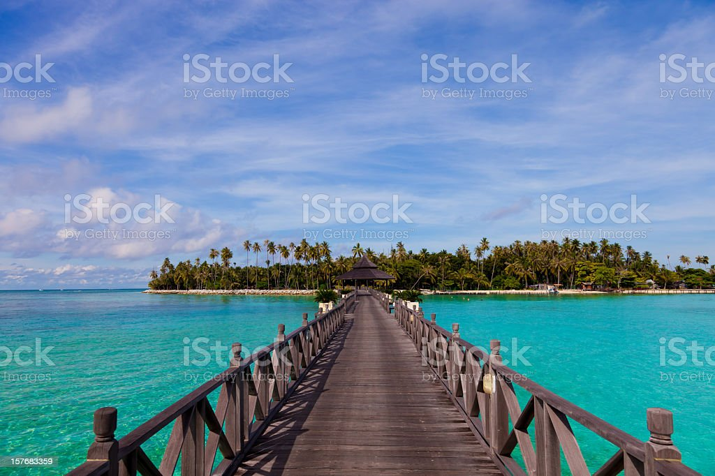Jetty on Mabul island, Sipadan, Borneo Malaysia royalty-free stock photo