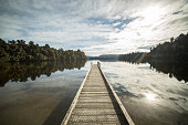 Jetty over Lake Mapourika, New Zealand