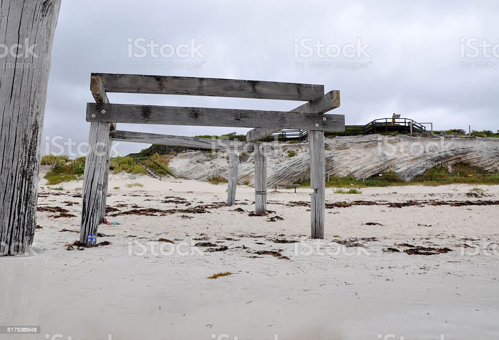 Jetty Remains in Hamelin Bay stock photo