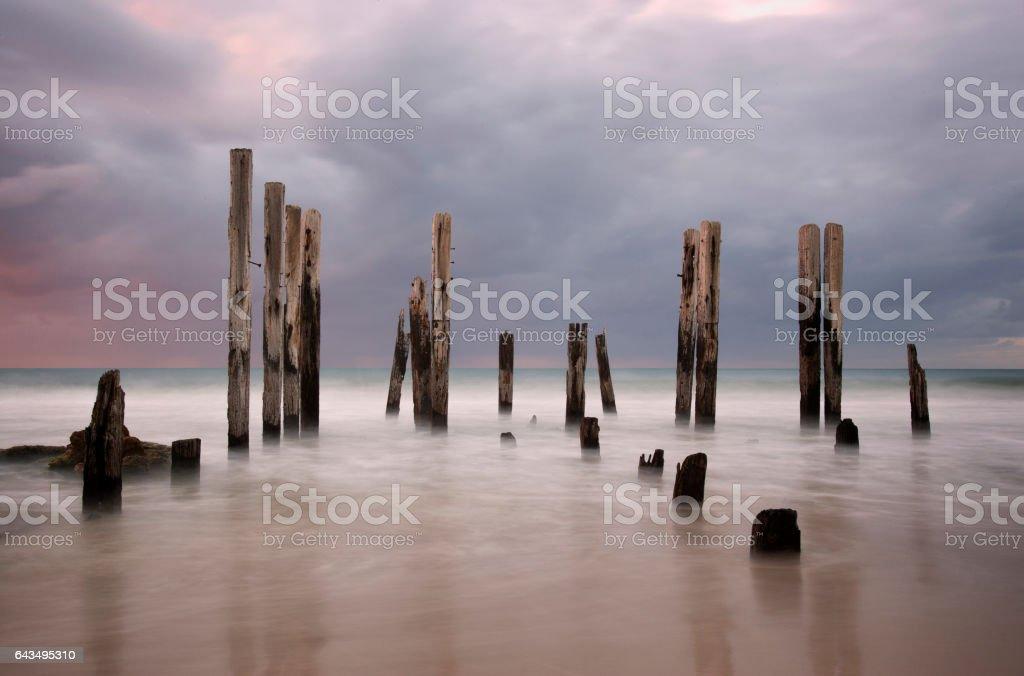 Jetty Ruin Port Willunga Dusk Adelaide Australia Tourism stock photo