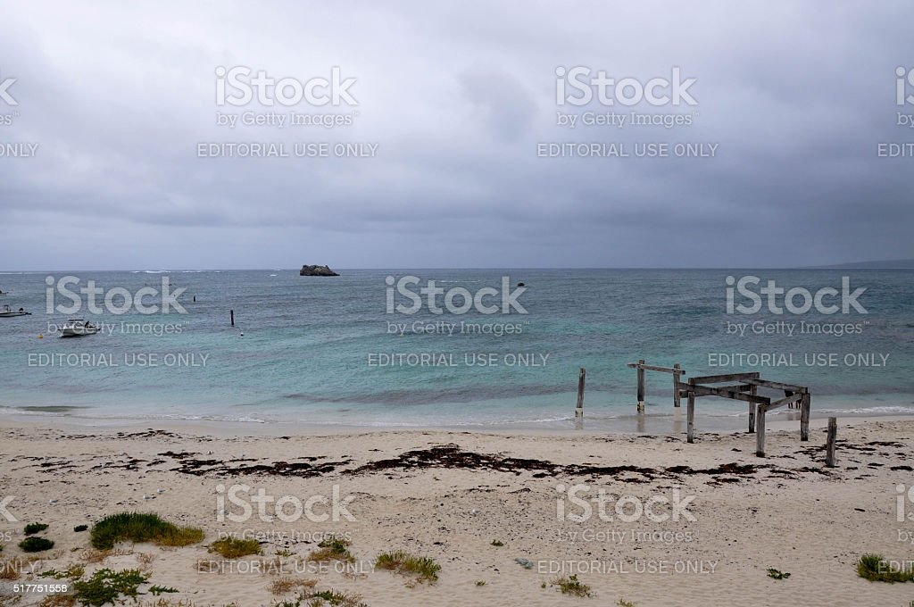 Jetty Ruins in the Storm stock photo