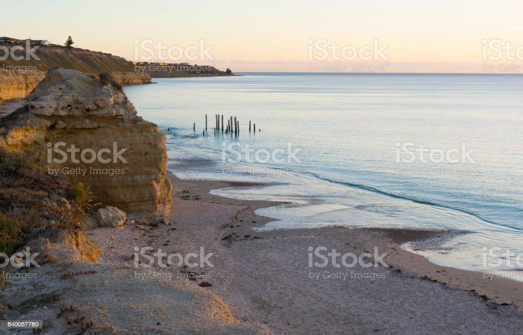 Jetty Ruins - Port Willunga, South Australia - Golden Hour stock photo