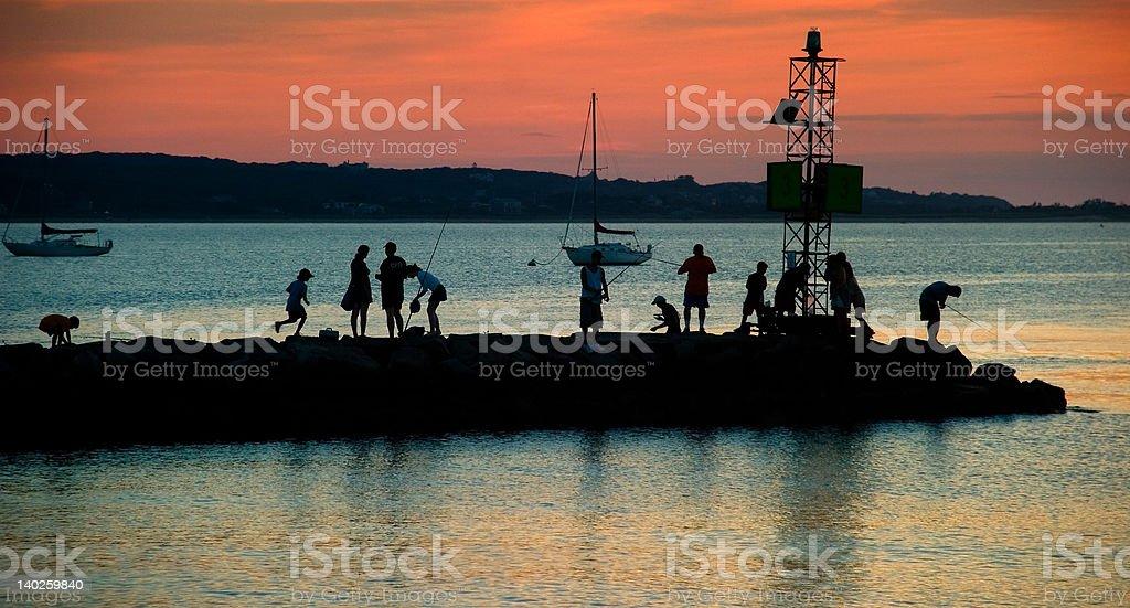 Jetty Sunset stock photo