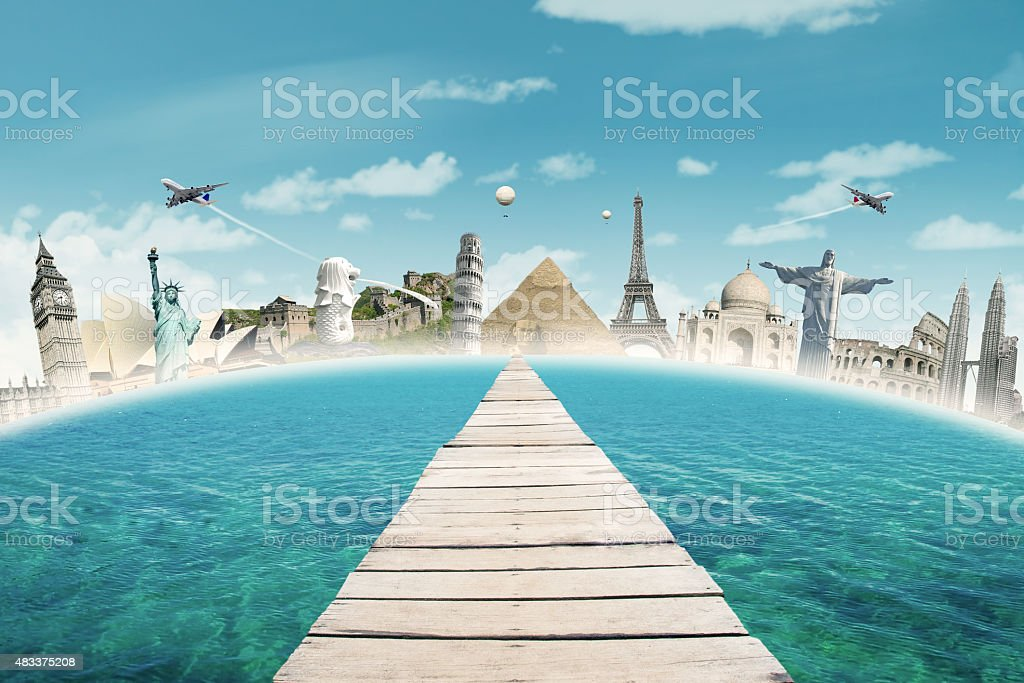 Jetty to the world monuments stock photo