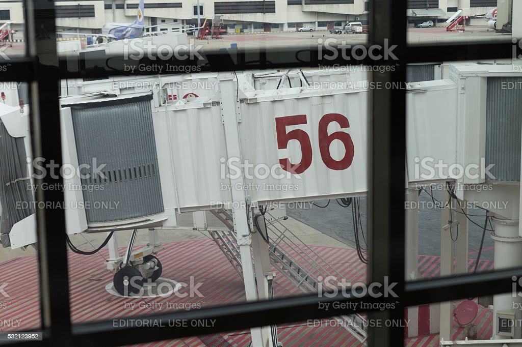 jetway at airplane parking in Don Mueang International Airport i stock photo