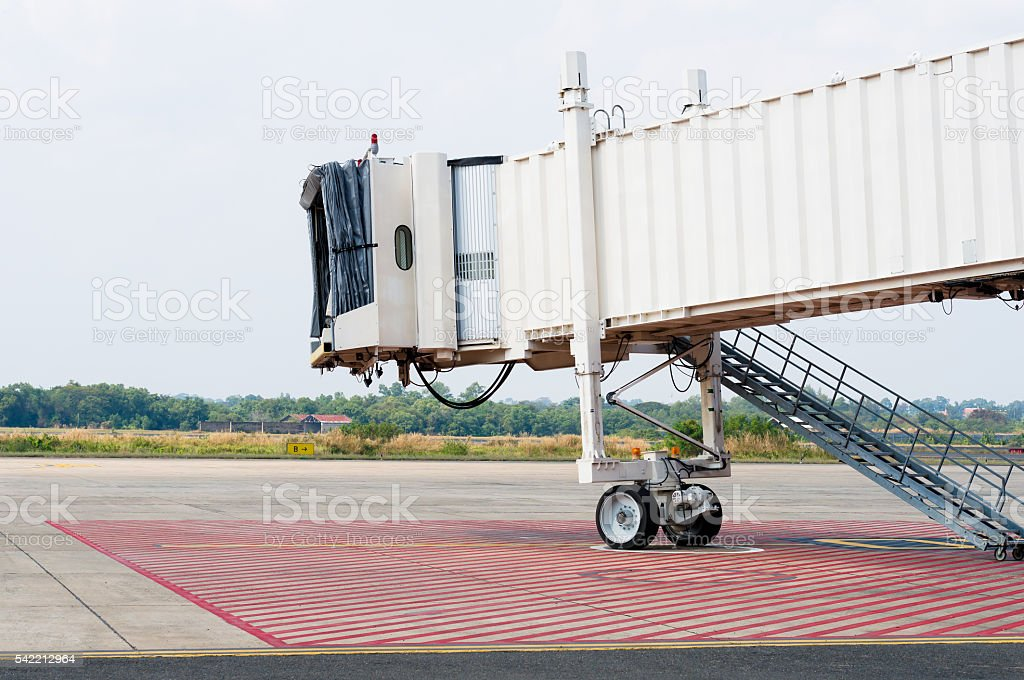 Jetway waiting for plane arrival. stock photo