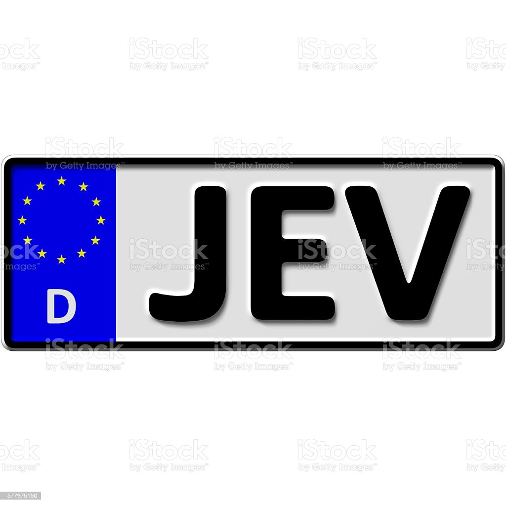 Jever license plate number stock photo