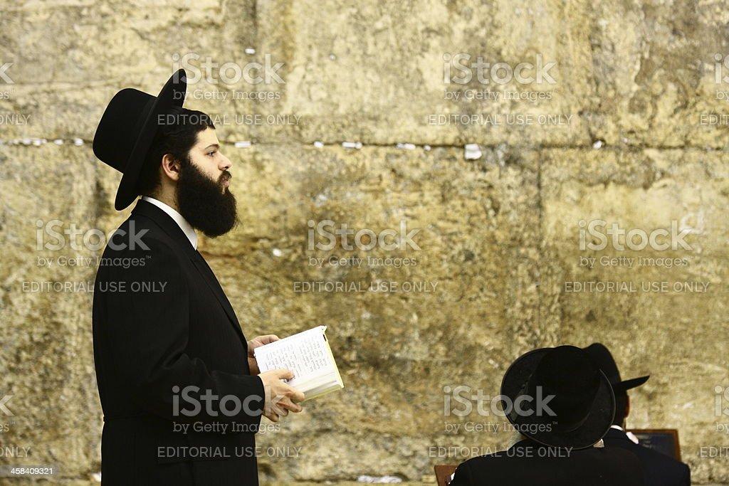 Jew praying at the Western Wall stock photo