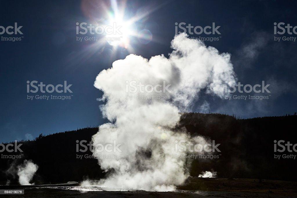 Jewel Geyser Erupting, Biscuit Basin, Yellowstone National Park stock photo