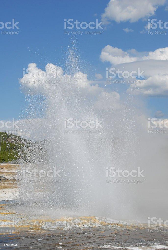 Jewel Geyser erupts at Yellowstone National Park stock photo
