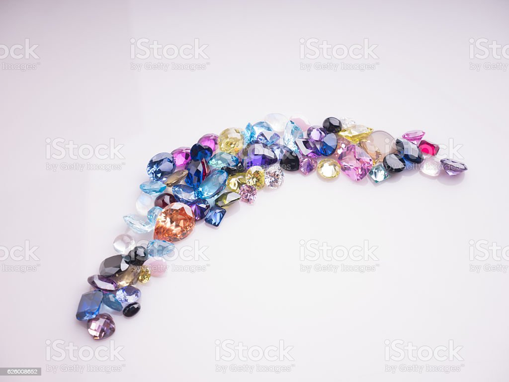 Jewel or gems Collection of many different natural gemstones stock photo