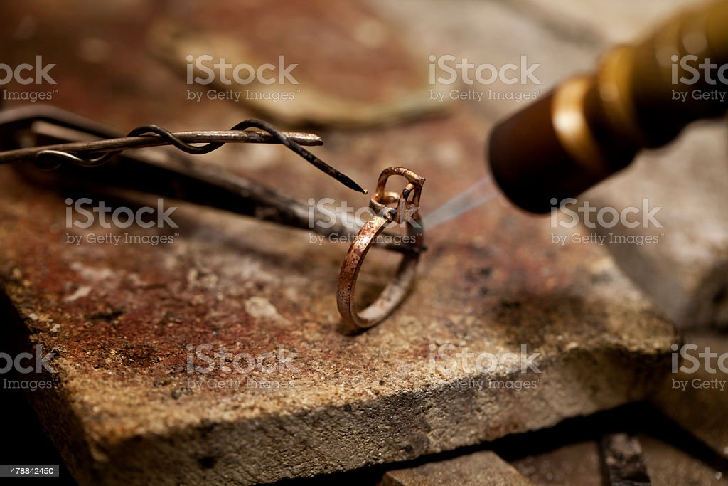 jeweler solder ring stock photo