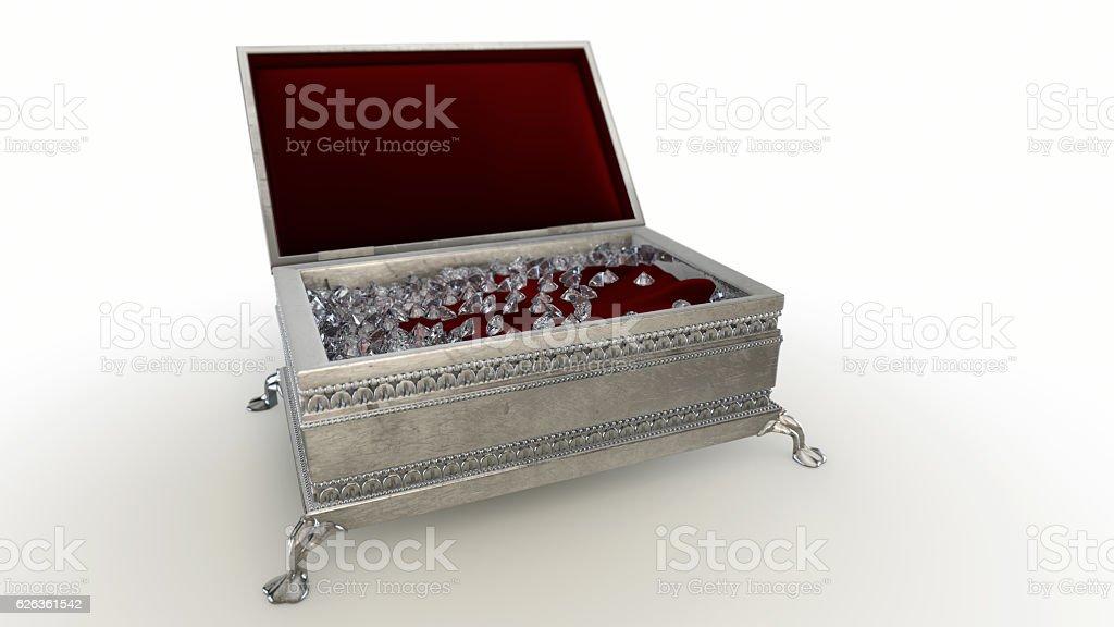 Jewelery case with DIAMOND stock photo