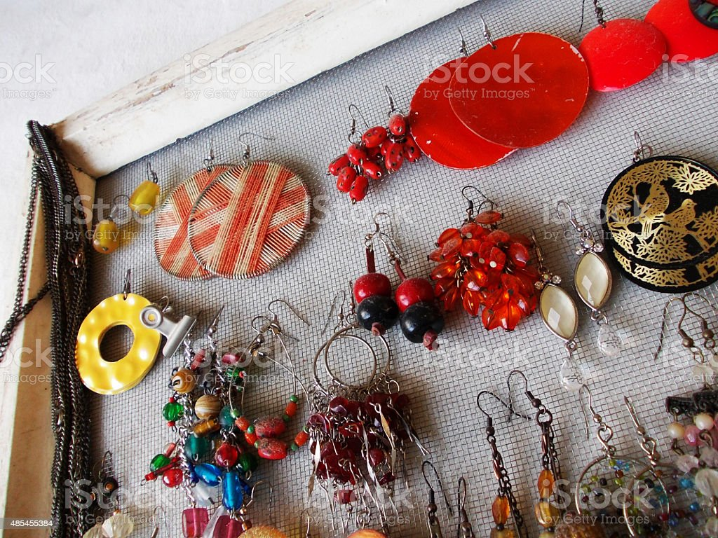 Jewellery and earring organizer stock photo