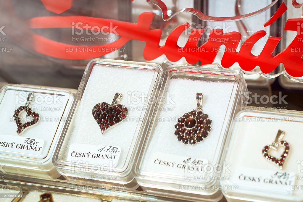 Jewellery from Bohemian garnets in the tourist shop, Kutna Hora stock photo
