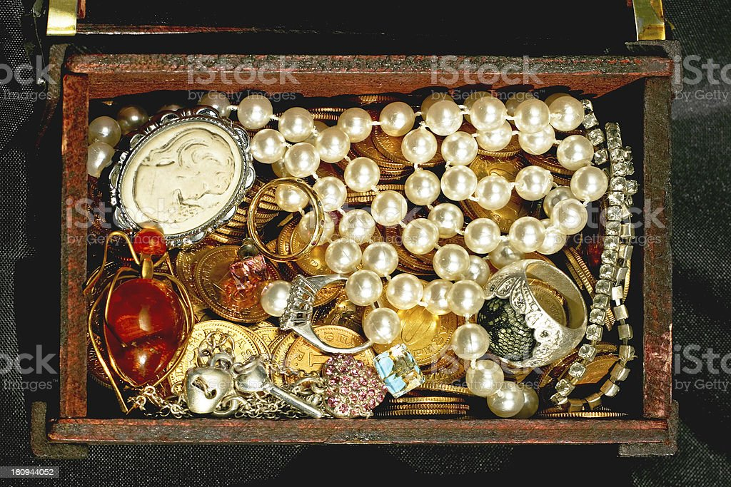 Jewellery in chest royalty-free stock photo