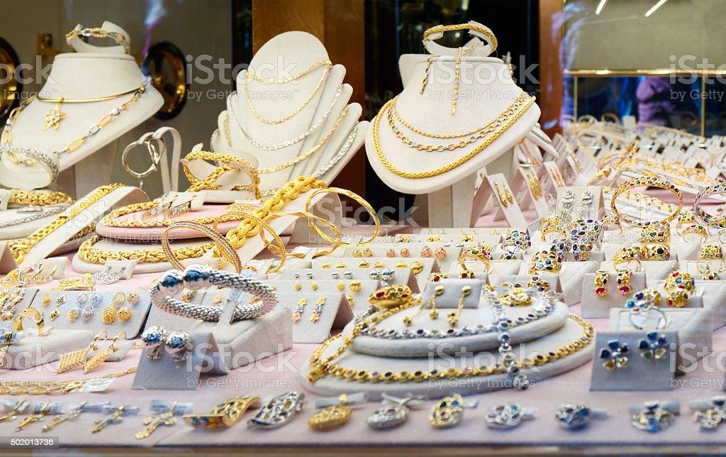 Jewellery market display stock photo