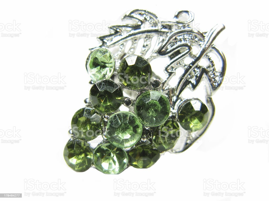 jewellery ring with emerald crystals royalty-free stock photo