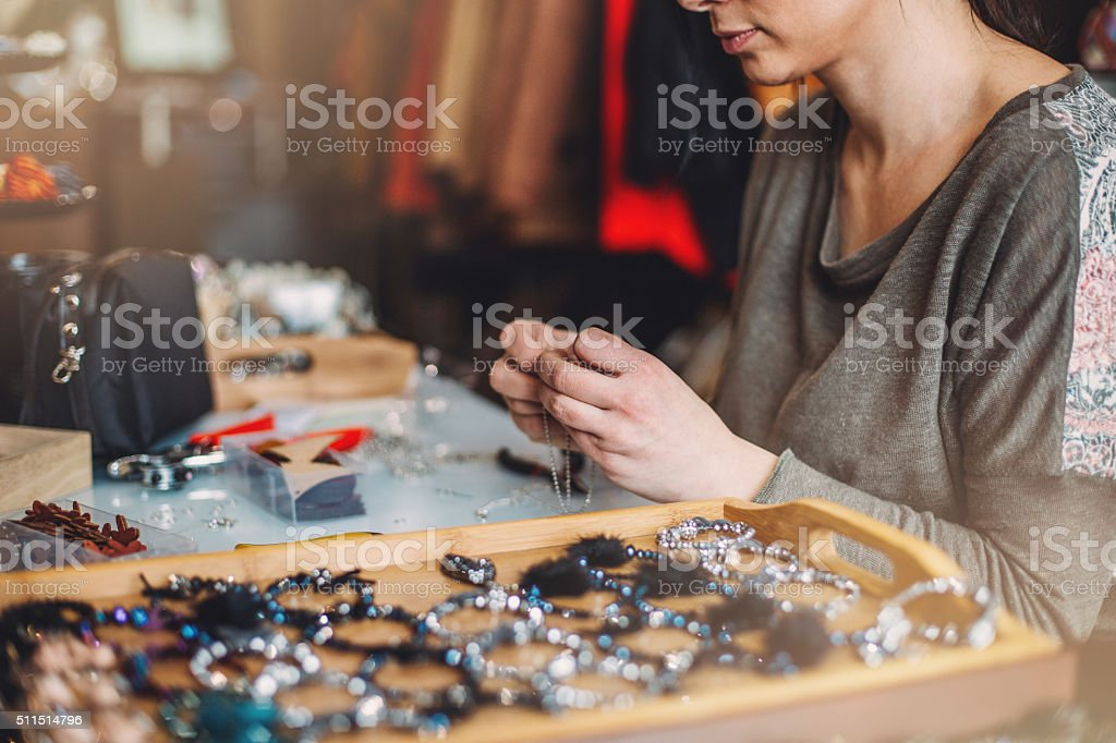 Jewelry artisan working stock photo