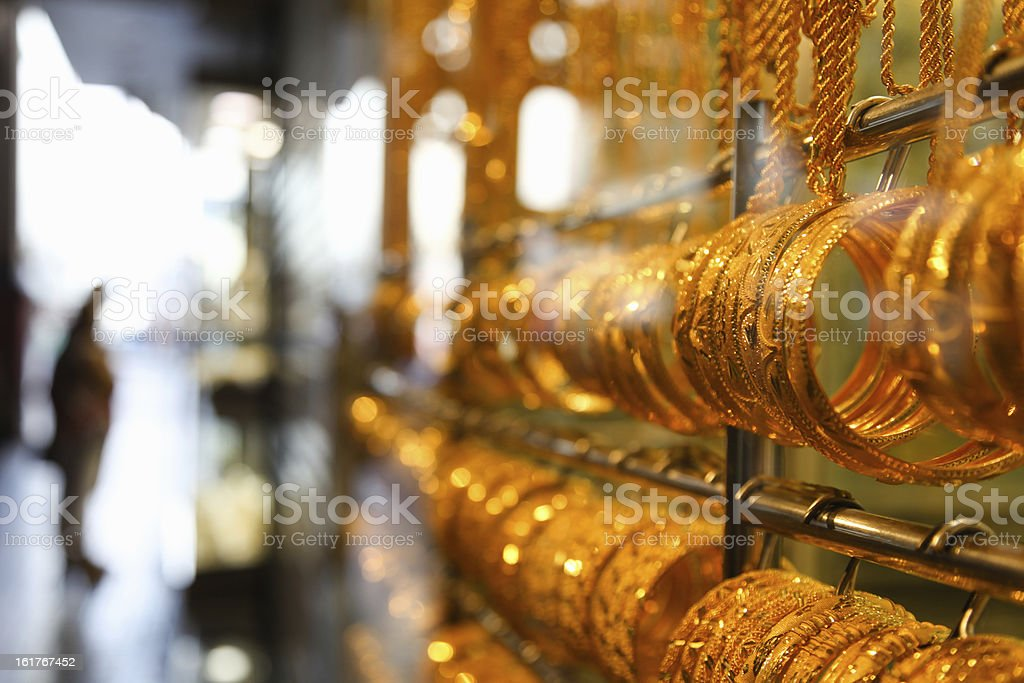 Jewelry at Dubai's Gold Souq royalty-free stock photo