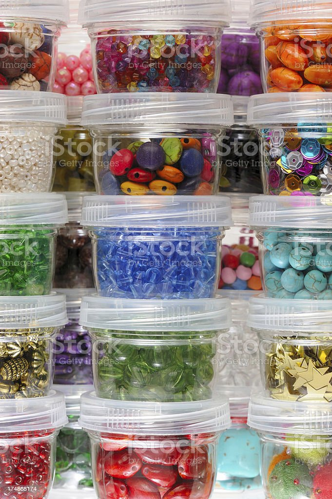 Jewelry Beads in Jars royalty-free stock photo